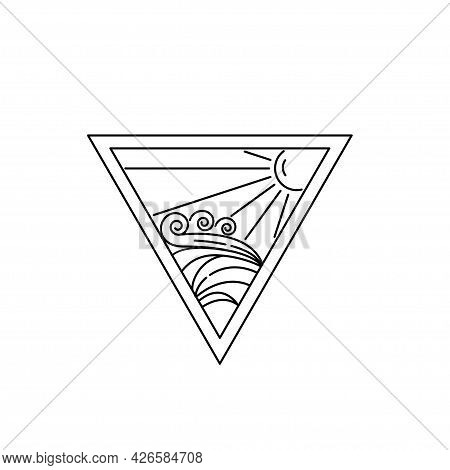 Monoline Logo Design Vector Template, Ocean Waves