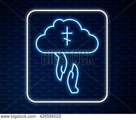 Glowing Neon Line Gods Helping Hand Icon Isolated On Brick Wall Background. Religion, Bible, Christi