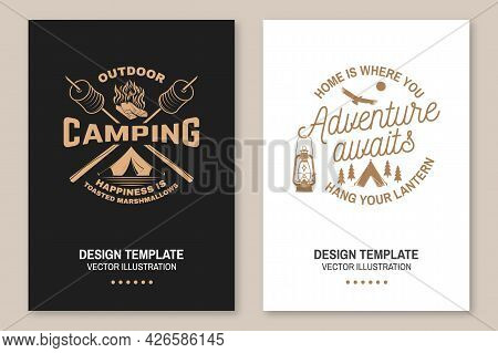 Happy Camper. Happiness Is Toasted Marshmallows. Vector Flyer, Brochure, Banner, Poster Design With
