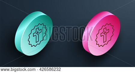 Isometric Line Christian Cross Icon Isolated On Black Background. Church Cross. Turquoise And Pink C