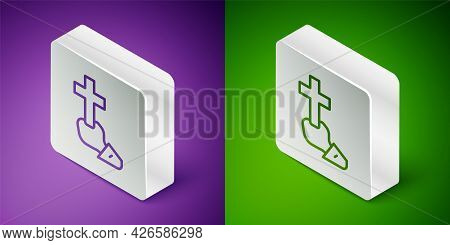 Isometric Line Christian Cross Icon Isolated On Purple And Green Background. Church Cross. Silver Sq