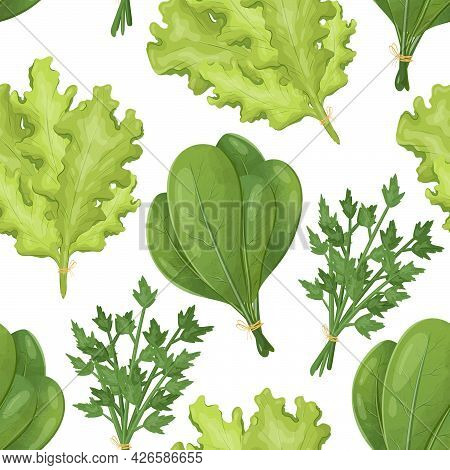 Vector Seamless Pattern With Bundles Of Greenery. Fresh, Healthy Lettuce, Spinach And Parsley. Natur