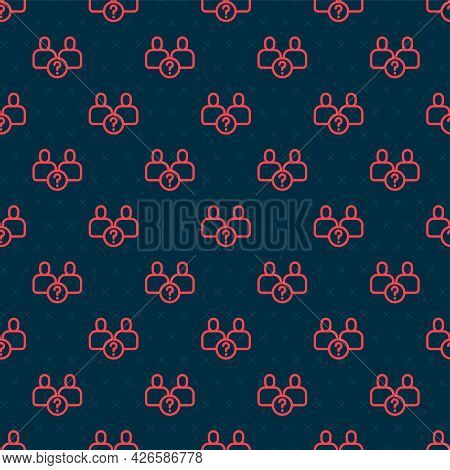 Red Line Complicated Relationship Icon Isolated Seamless Pattern On Black Background. Bad Communicat