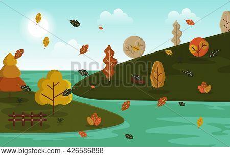 Autumn Fall Season Countryside River Nature Landscape Illustration
