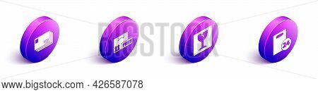 Set Isometric Envelope, Cardboard Box With Free Symbol, Fragile Broken Glass And Delivery With Cardb