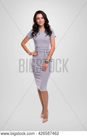 Full Body Of Confident Adult Long Haired Brunette Wearing Stylish Casual Dress With Wristwatch And S