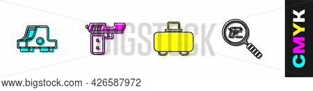 Set Collimator Sight, Pistol Gun, Weapon Case And Search Icon. Vector