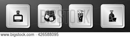 Set Whiskey Bottle, Glass Of Whiskey, Cocktail And Alcohol Drink Rum Icon. Silver Square Button. Vec