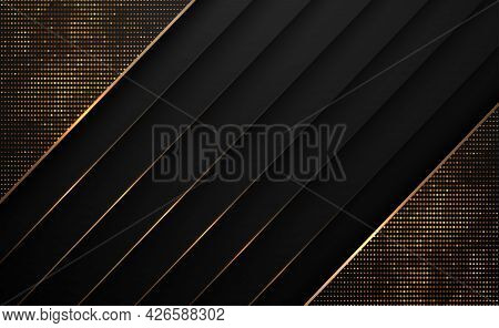 Black Paper Cut With Gold Line And Glitter Golden Abstract Background. Vector Illustration