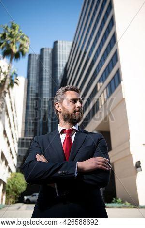 Urban Business Man. Casual Businessman Wearing Suit Jacket. Portrait Of A Mature Businessman. Ambiti