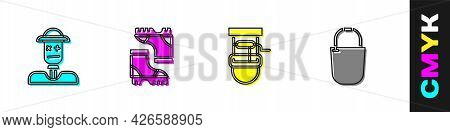 Set Scarecrow, Waterproof Rubber Boot, Well With Bucket And Bucket Icon. Vector