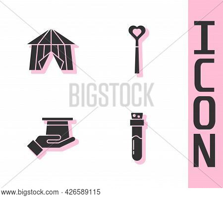 Set Bottle With Potion, Circus Tent, Magician Hat In Hand And Wand Icon. Vector