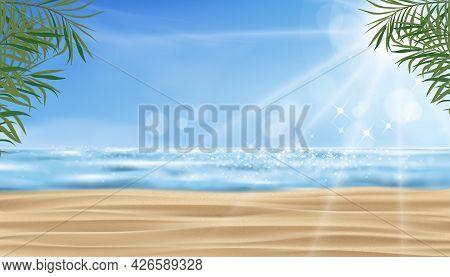 Tropical Sand Beach, Sea, Blue Sky And Sunlight Shining In Summer. Vector Sea Beach, Coconut Palm Le