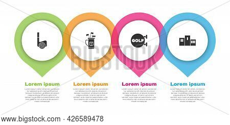 Set Golf Club With Ball, Bag Clubs, Sport And Award Over Sports Winner Podium. Business Infographic