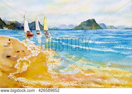 Colorful Watercolor Painting On Paper Texture. Impressionism Image Of Seascape Paintings With Sunlig