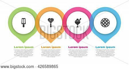 Set Ice Cream, Lollipop, In Bowl And Homemade Pie. Business Infographic Template. Vector