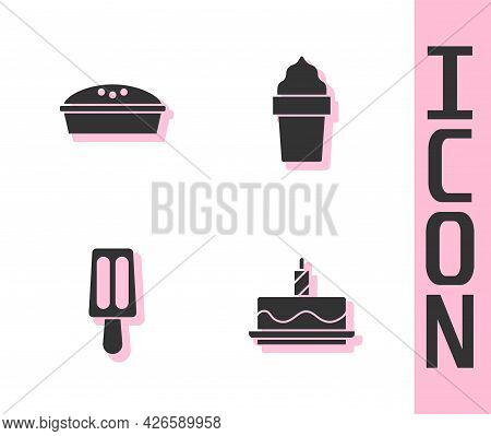 Set Cake With Burning Candles, Homemade Pie, Ice Cream And Waffle Cone Icon. Vector