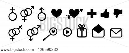 Simple Set Of Black Icons For Dating Site, For Social Networks, For Communication On Internet. Black