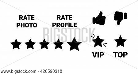 Set Of Black Evaluation Icons For Dating Site, For Social Networks, For Communication On Internet. B