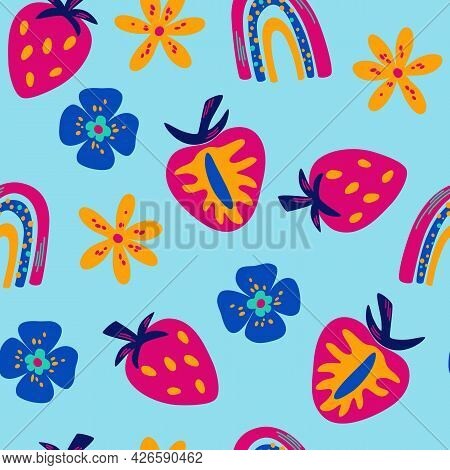Seamless Pattern With Bright Juicy Strawberries. Flowers, Arcs And Slices Of Strawberry Fruit Backgr