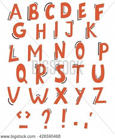 Vector Of Colorful Stylized Font And Alphabet. Cute Colorful English Alphabet. Modern Abstract Hand-