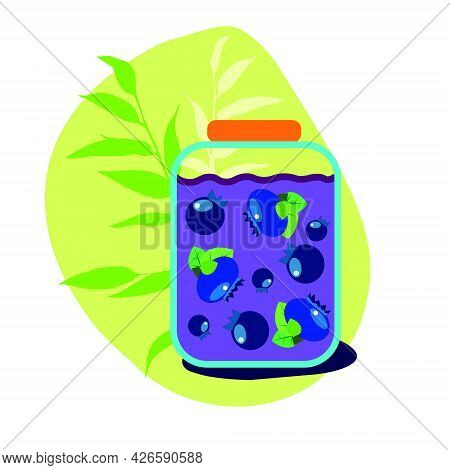 A Jar Of Blueberry Jam With Traced Blueberries. Yellow Background With Shadow And Leaves. Flat Style