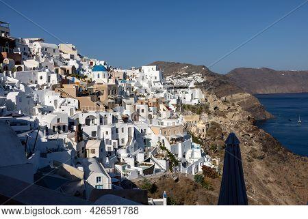 Whitewashed Houses In Oia On Santorini Island, Cyclades, Greece