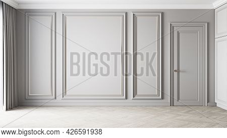 Gray Classic Interior With Moldings, Blank Wall. 3d Render Illustration Mockup.