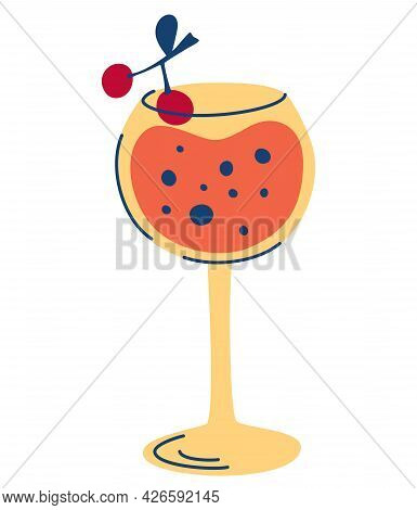 Cocktail With Cherries. Stylized Image Of Alcoholic Beverage. Summer Vacation And Beach Party. Perfe