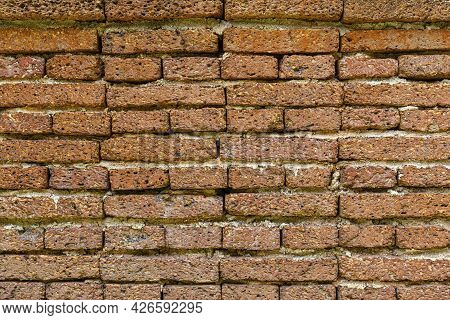 Brown Laterite Stone Wall Outside The Ancient Site Texture And Background Seamless