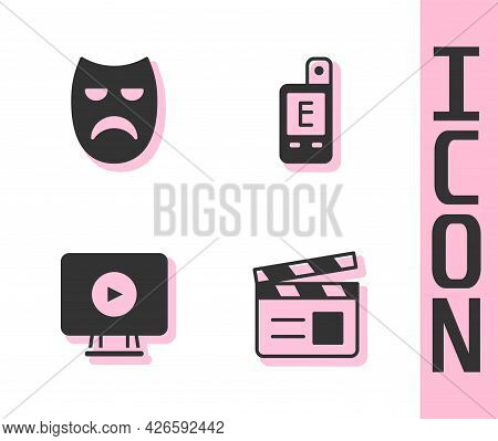 Set Movie Clapper, Drama Theatrical Mask, Online Play Video And Light Meter Icon. Vector