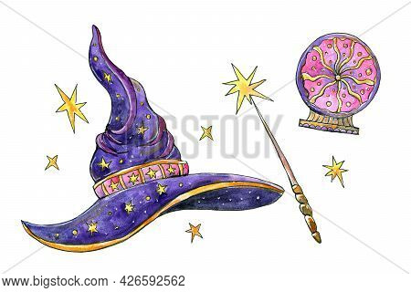 Halloween Hat With Magic Wand And Crystal Ball.watercolor Painting.hand Drawing. Bright Illustration