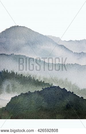 Watercolor Mountain Background Drawn By Brush.  Blue Paints Nature On Paper Texture Wallpaper For De