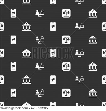 Set Scales Of Justice, Courthouse Building, Protest And Gender Equality On Seamless Pattern. Vector