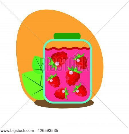 Glass Jar With Raspberry Jam On An Orange Background, With Traced Raspberries. Flat Style, Vector
