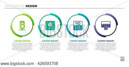 Set Stereo Speaker, Music Player, Bitrate And Wave Equalizer. Business Infographic Template. Vector