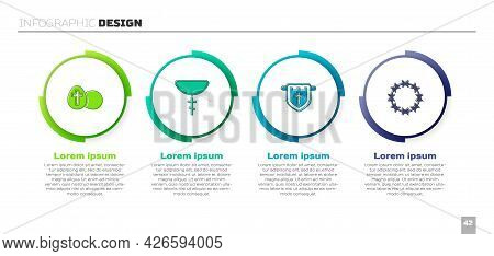 Set Easter Egg, Christian Cross On Chain, Flag With Christian And Crown Of Thorns. Business Infograp
