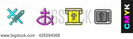 Set Crusade, Christian Fish, Flag With Christian Cross And Online Church Pastor Preaching Icon. Vect