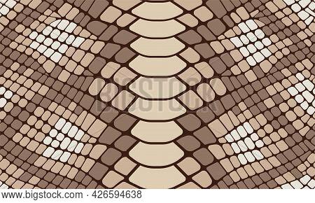 Trendy Snake Skin Vector Seamless Pattern. Hand Drawn Wild Animal Reptile Skin, Natural Brown Python