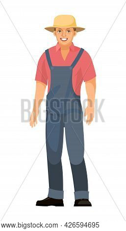The Farmer Guy Is Standing. Young Handsome Cute Boy Wearing A Hat. In Uniform, Overalls. Single. Car