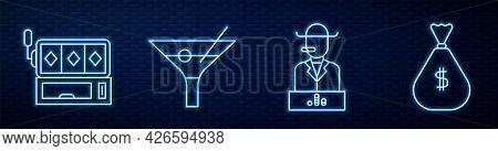 Set Line Poker Player, Slot Machine, Martini Glass And Money Bag. Glowing Neon Icon On Brick Wall. V