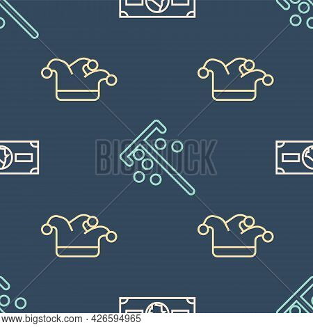Set Line Stacks Paper Money Cash, Joker Playing Card And Stick For Chips On Seamless Pattern. Vector