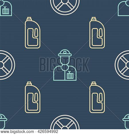 Set Line Industry Valve, Container With Drain Cleaner And Plumber On Seamless Pattern. Vector