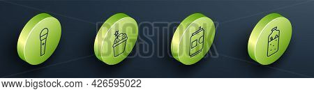 Set Isometric Karaoke Microphone, Cake, Beer Can And Mulled Wine Icon. Vector