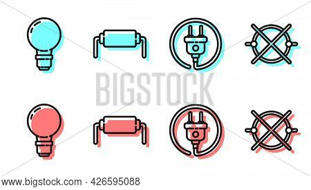 Set Line Electric Plug, Light Bulb With Concept Of Idea, Resistor Electricity And Electric Circuit S
