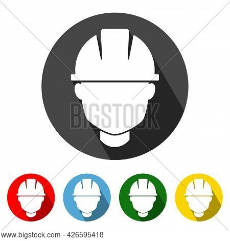Safety Helmet Flat Style Icon With Long Shadow. Safety Helmet Icon Vector Illustration Design Elemen