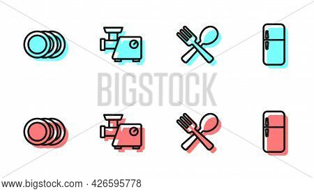Set Line Crossed Fork And Spoon, Plate, Kitchen Meat Grinder And Refrigerator Icon. Vector