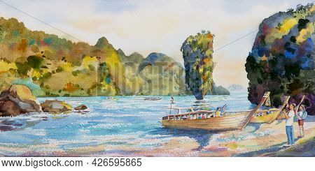 Colorful Summer Watercolor Painting Seascape On Paper Of Phang Nga Bay With Tourism Family On Beach