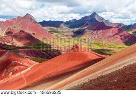 Rainbow Mountain Or Vinicunca Montana De Siete Colores And Beautiful Sky, Cuzco Or Cusco Region In P