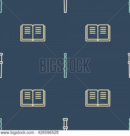 Set Line Magic Wand, Ancient Magic Book And On Seamless Pattern. Vector